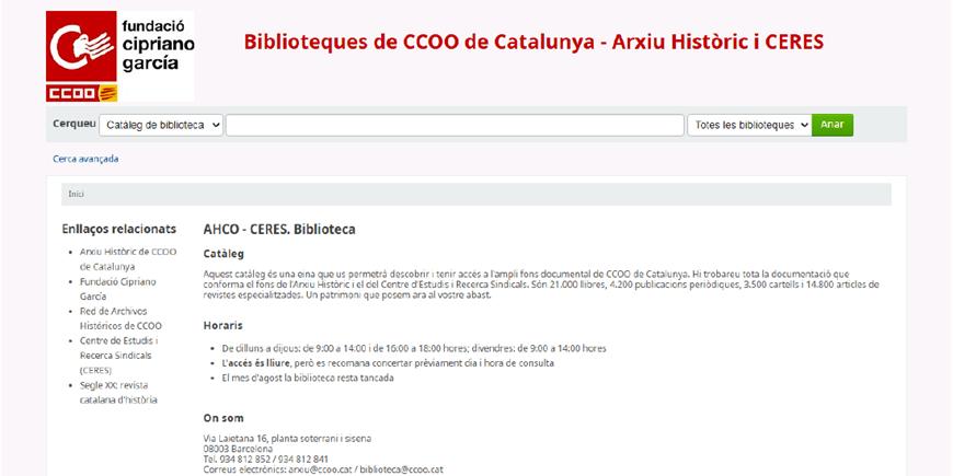 El catàleg unificat de les biblioteques de CCOO de Catalunya