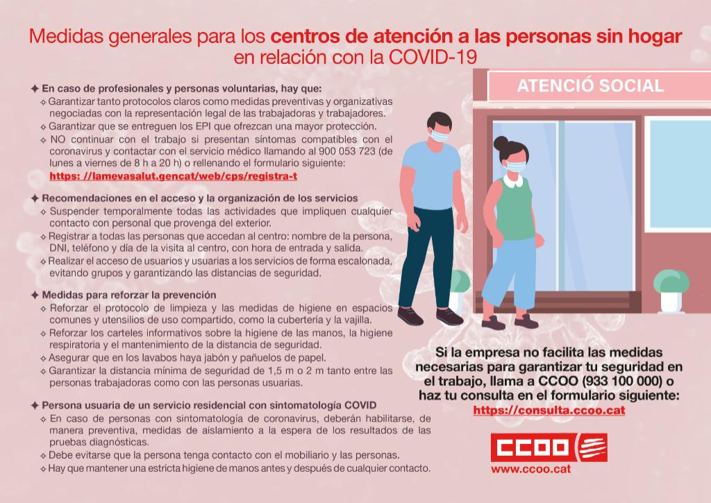 Mesures generals per als centres d'atenció a les persones sense llar en relació amb la COVID-19