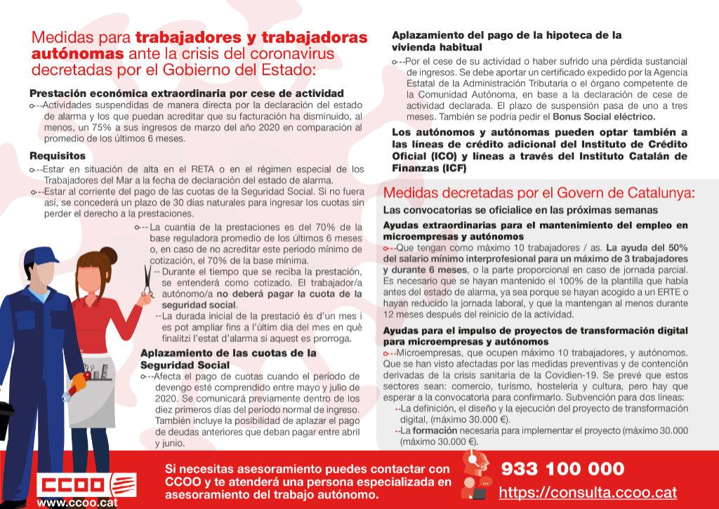 Mesures per a treballadors i treballadores autònoms davant la crisi del coronavirus