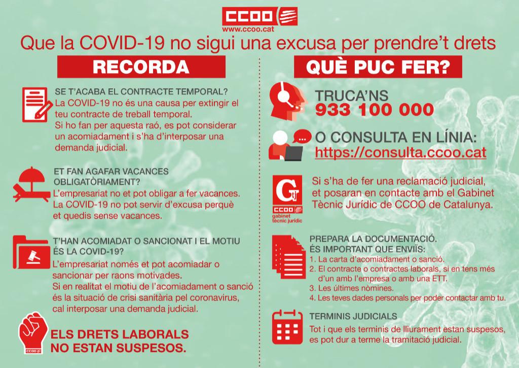 Que la COVID-19 no sigui una excusa per prendre't drets