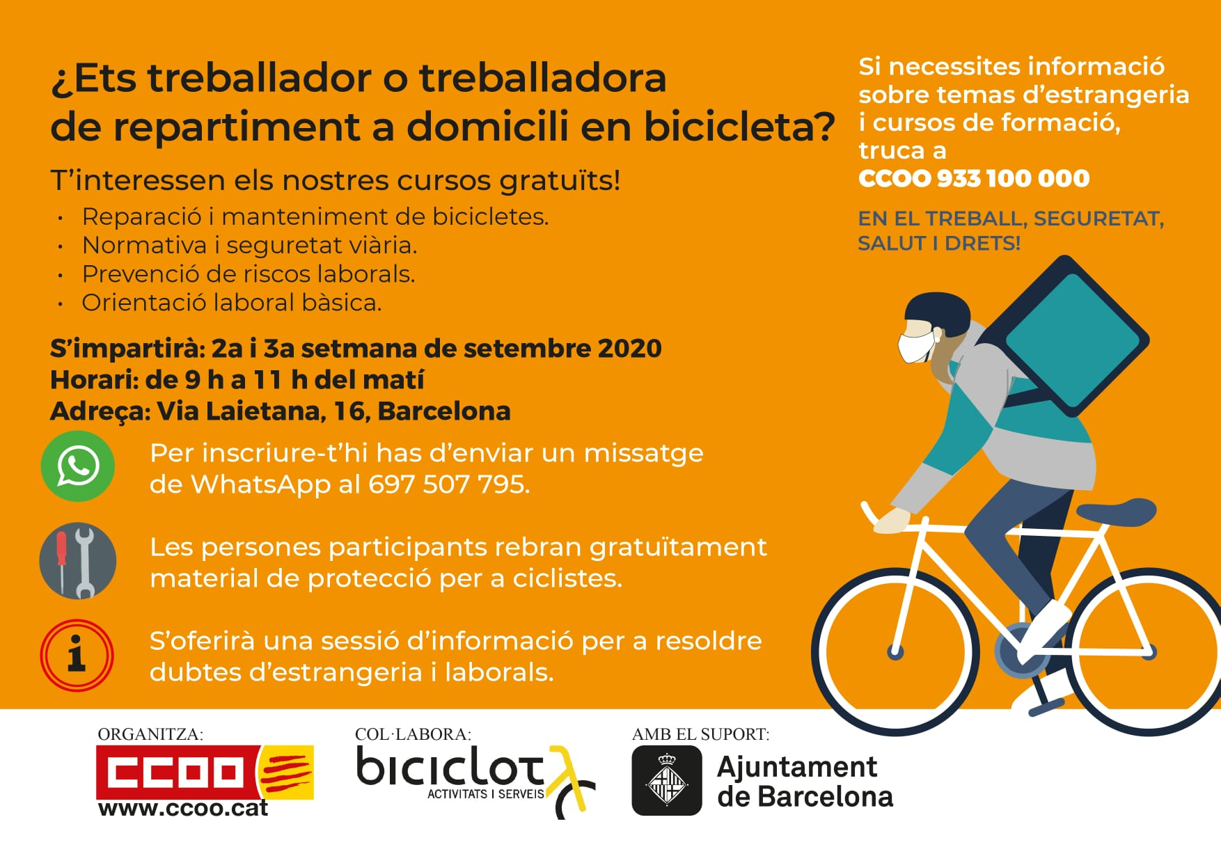 Ets treballador o treballadora de repartiment a domicili en bicicleta?