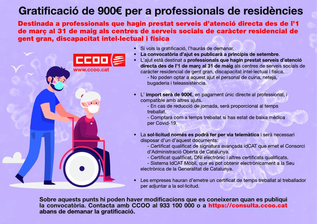 Gratificació de 900€ per a professionals de residències