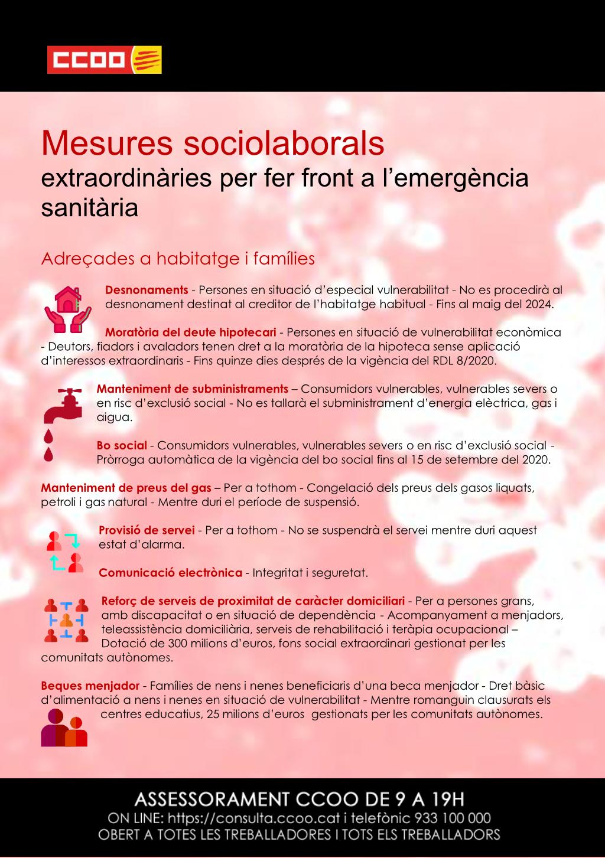 Mesures sociolaborals extraordinàries per fer front a l'emergència sanitària adreçades a habitatge i famílies
