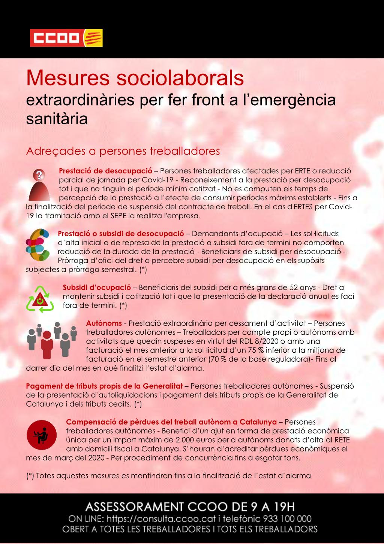 Mesures sociolaborals extraordinàries per fer front a l'emergència sanitària adreçades a persones treballadores
