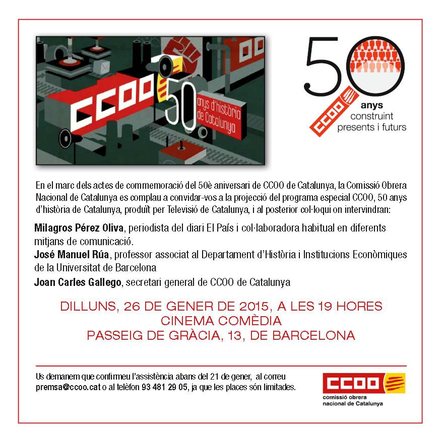 Projecció del documental 'CCOO, 50 anys d'història de Catalunya'