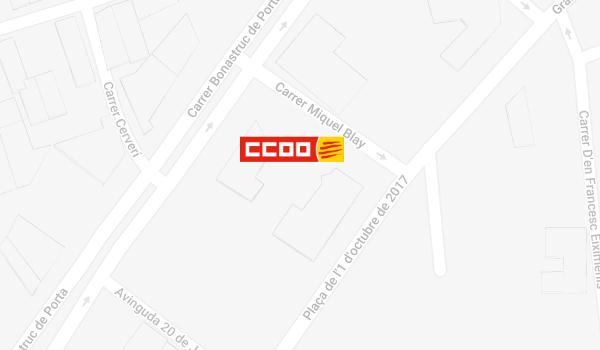 Mapa de situació de CCOO a Girona