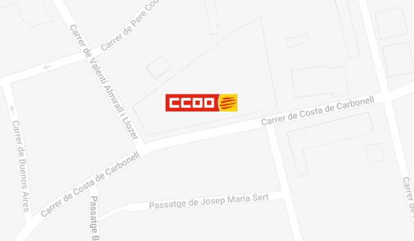 Mapa de situació de CCOO a Lloret de Mar