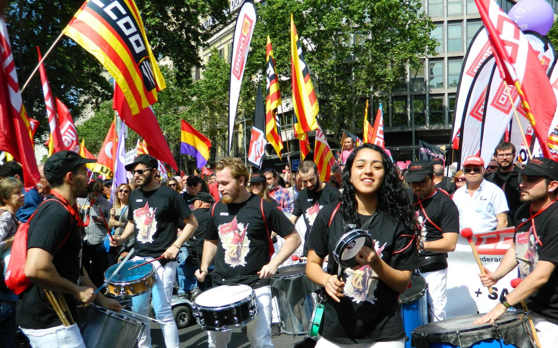 Batucada de la manifestació de l'1 de Maig de 2019