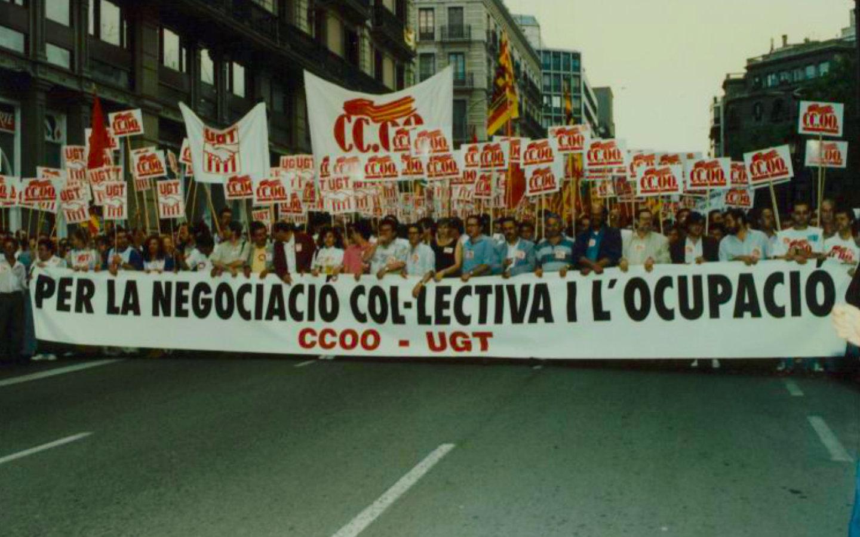 Manifestació per a la negociació col·lectiva i l'ocupació