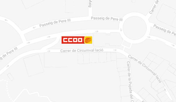 Mapa de situació de CCOO a Manresa