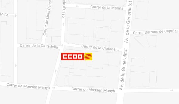 Mapa de situació de CCOO a Tortosa