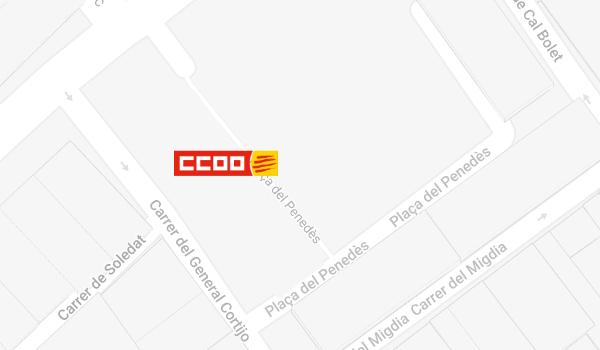 Mapa de situació de CCOO a Vilafranca del Penedès