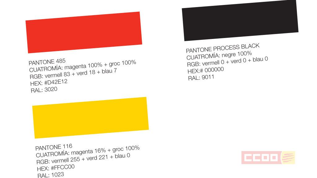 Colors Pantone del Logotip de CCOO de Catalunya