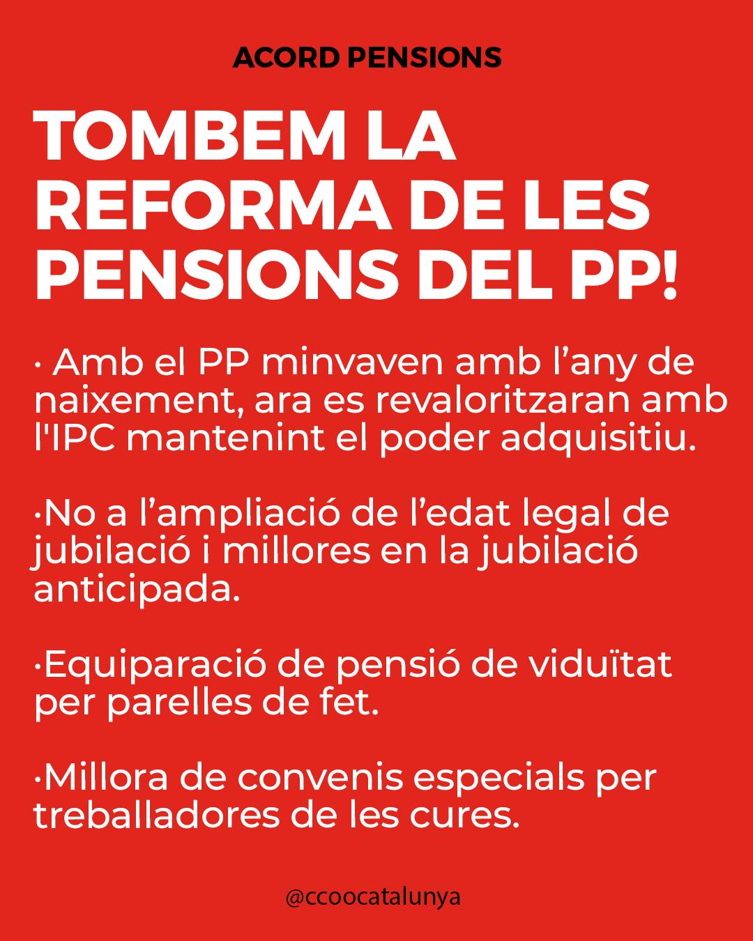 Tombem la reforma de les pensions del PP!
