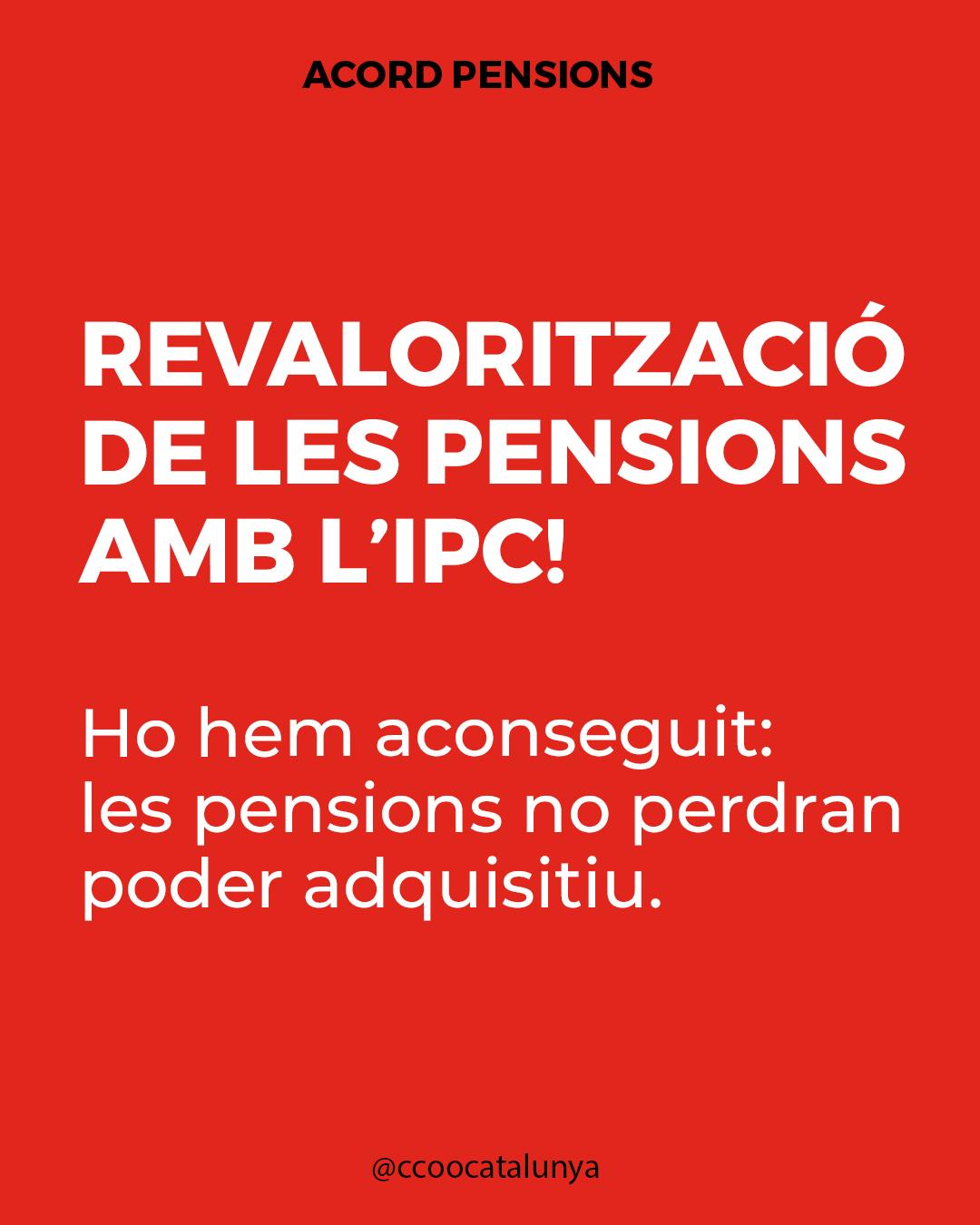 Revalorització de les pensions amb l'IPC