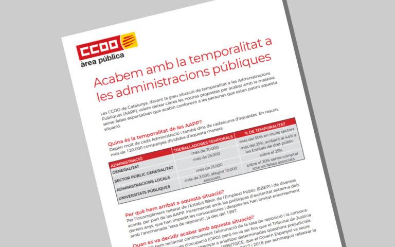 Full Informatiu sobre la Temporalitat a les Administracions Públiques