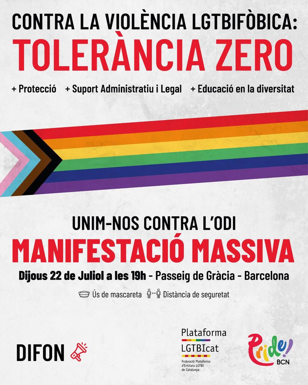 Cartell de la Manifestació contra l'LGTBIfòbia del 22 de juliol