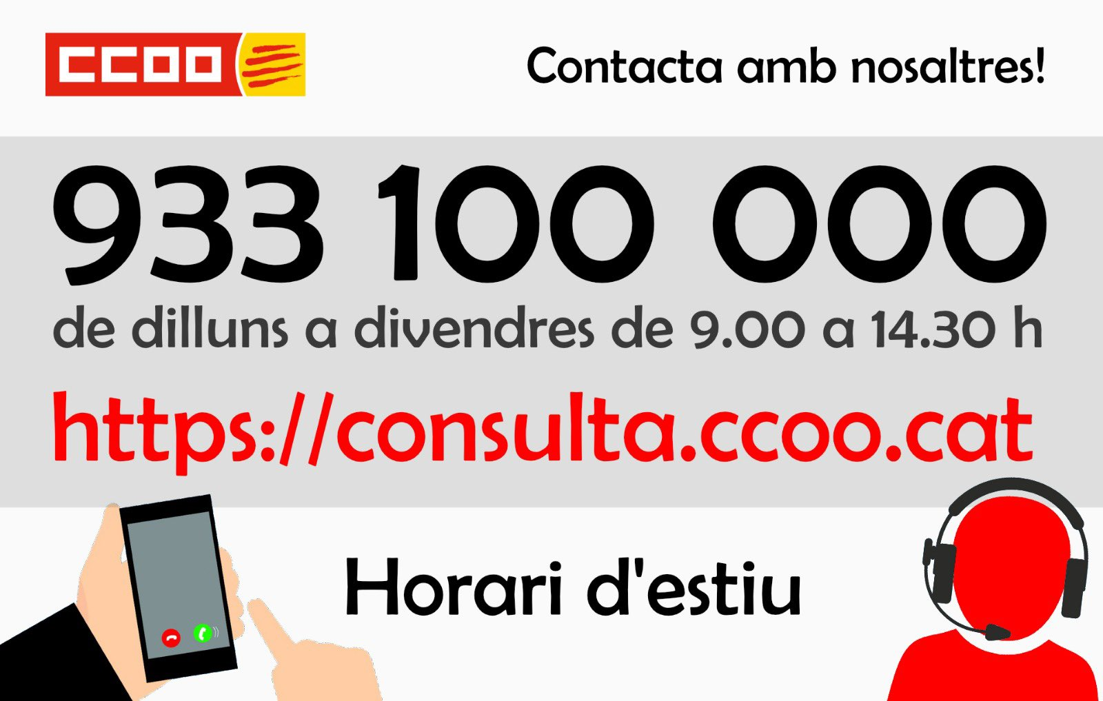 Horaris d'assessorament de CCOO de Catalunya durant el mes d'agost de 2021