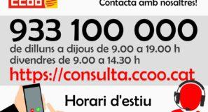 Horaris d'assessorament de CCOO de Catalunya durant el mes de juliol de 2021