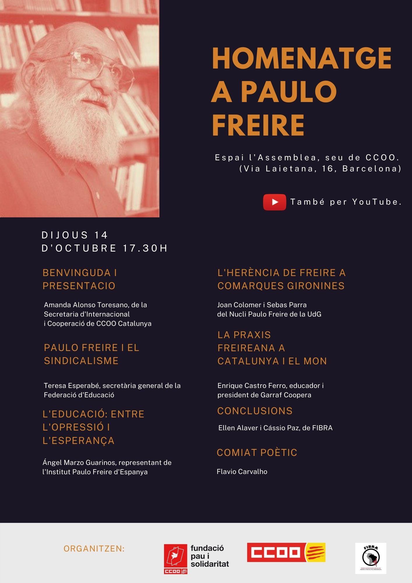 Cartell de l'acte d'homenatge a Paulo Freire